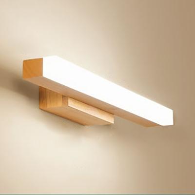 Wood Linear LED Vanity Lighting 16/23.5/31.5 Inch Nordic Style Waterproof Wall Light in Beige for Dressing Room