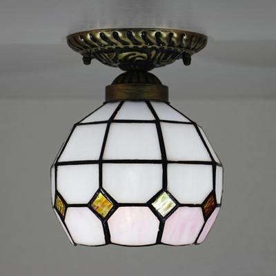1 Light Lattice Globe Flush Light Tiffany Rustic Glass Ceiling Mount Light for Bedroom