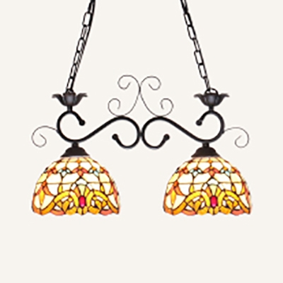 2 Lights Chandelier Light Tiffany Style Stained Glass Hanging Lamp for Bedroom Dining Room