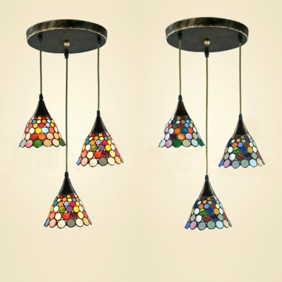 3 Lights Suspension Light Tiffany Antique Glass Hanging Light in Beige/Blue/Multi-Color for Office