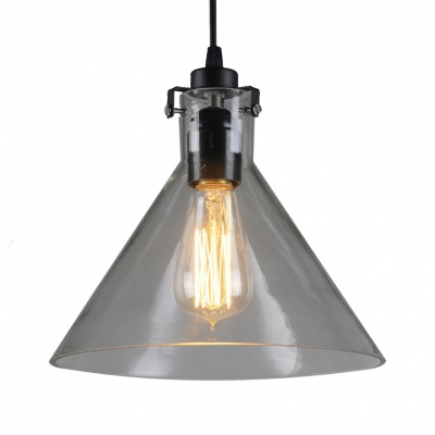 Clear Glass Cone Shade Hanging Light 1 Light Industrial Pendant Lamp for Study Room Restaurant, HL532412