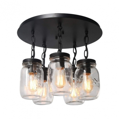 5 Lights Jar Ceiling Lamp Antique Style Dimple Glass Hanging Light in Black for Dining Table