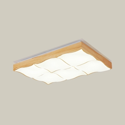 Wood Curve Rectangle LED Flush Light Contemporary Ceiling Lamp in Warm/White for Study Room