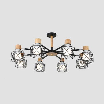 Contemporary Metal Ceiling Flush Mounted Light 3/6/8 Lights in Black Finish with Wood Lamp Socket