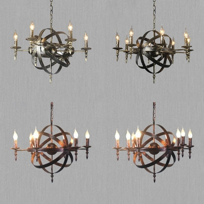 6 8 Lights Candle Chandelier Vintage Style Wrought Iron Hanging Light