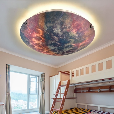Colorful Universe LED Flush Mount Light Creative Glass Ceiling Light in Warm/White for Kid Bedroom
