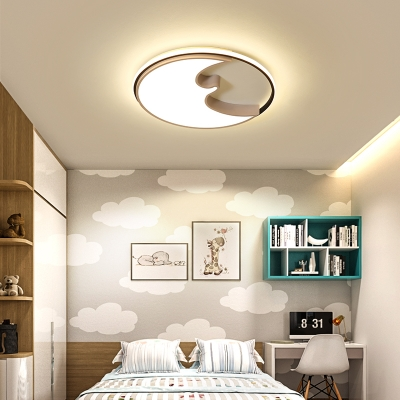 Contemporary Crescent LED Ceiling Mount Light Acrylic Flush Light in Warm/White for Kid Bedroom