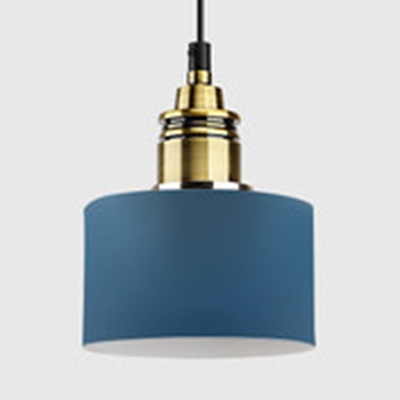 Contemporary Round Hanging Light Metal One Head Pendant Lamp in Light Blue/Blue/Pink for Office