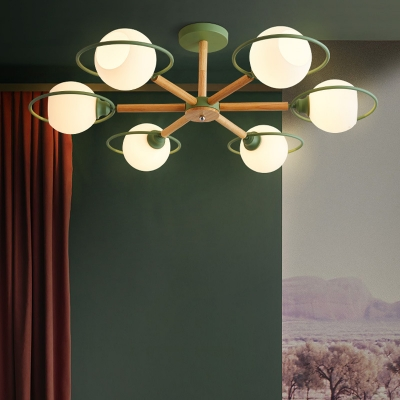 Creative Globe Pendant Lamp 6 Lights Open Frosted Glass Chandelier in Green/Gray/Black for Shop