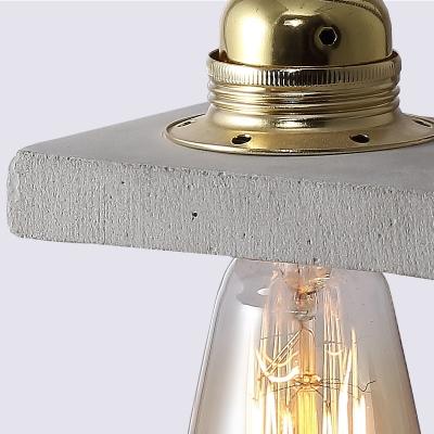 Creative Open Bulb Desk Light One Light Cement Table Light in Gray for Bedside Table