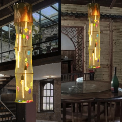 Fabric Cylinder Fish Net Hanging Light Restaurant 5 Lights Creative Pendant Light with Colorful Fish