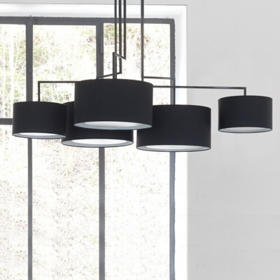 Fabric Drum Shade Pendant Lamp Living Room 5 Lights Contemporary Chandelier in Black/Coffee/White