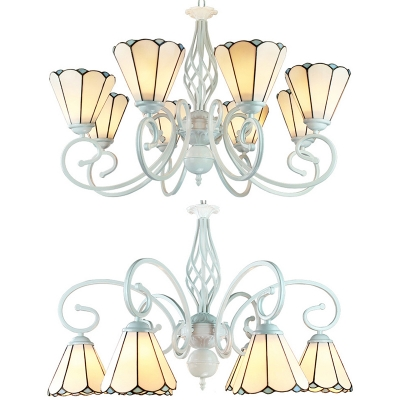 Glass Cone Shade Chandelier Living Room 6/8 Lights Tiffany Style Classic Hanging Lamp in White