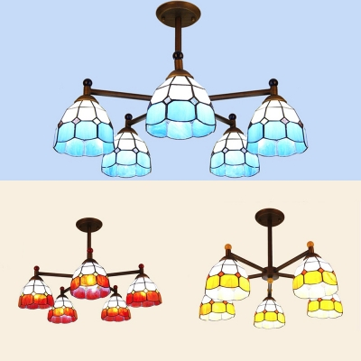 Glass Dome Shade Hanging Light 5 Lights Tiffany Style Rustic Style Chandelier in Blue/Orange/Yellow for Shop