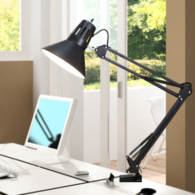 Industrial Desk Lamp with Adjustable Fixture Arm in Black Finish