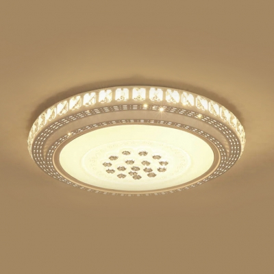 Living Room Circle LED Flush Mount Light Bluetooth Control 7-Color Crystal Music Ceiling Lamp