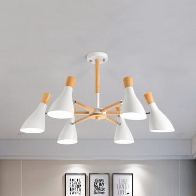 Macaron Loft Wine Bottle Chandelier Metal 5/6/8 Lights Black/White Hanging Light for Kindergarten