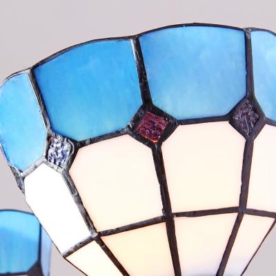 Mediterranean Style Dome Chandelier Glass 3 Lights Blue Suspension Light for Foyer
