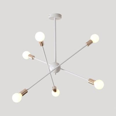 Metal Starburst Pendant Lamp 6/8 Lights Simple Stylish Chandelier in Black/White for Bedroom