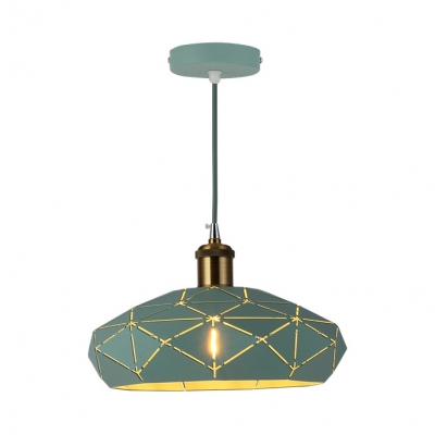 Modern Lattice Hat-Shaped Pendant Light 1 Light Aluminum Ceiling Pendant in Green/Pink/Yellow for Hallway