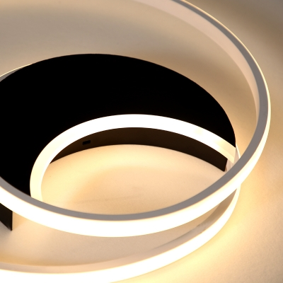 Modern Ring LED Flush Mount Light Acrylic Black Ceiling Lamp in Warm/White for Child Bedroom
