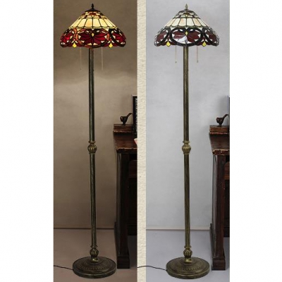 Stained Glass Maple Leaf Floor Lamp Two Lights Tiffany Victorian Standing Light for Bedroom