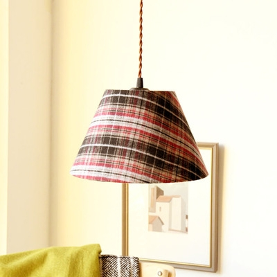 Tapered Shade Hallway Suspension Light with Plaid/Stripe Pattern