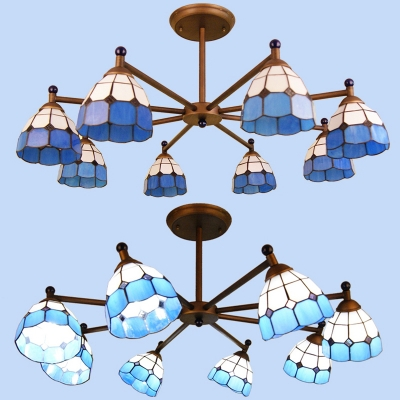 Tiffany Style Dome Ceiling Light 8 Lights Glass Chandelier in Blue/Orange/Yellow for Living Room