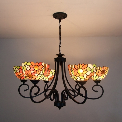 Tiffany Style Rustic Chandelier Sunflower 6 Lights Stained Gl