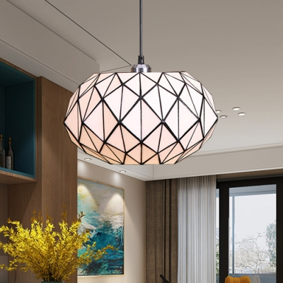 Tiffany Style White Pendant Light Lantern Shade 1 Light Glass Hanging Lamp for Dining Room