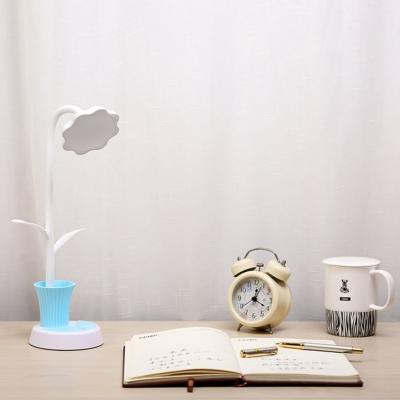 Touch Sensor Flower Reading Light with Pen Holder 1 Light Flexible Gooseneck LED Desk Light for Kid Bedroom