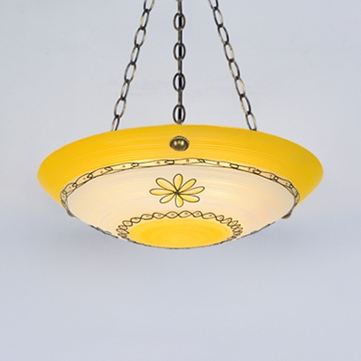 Traditional Bowl Shade Chandelier 5 Lights Glass Suspension Light in Blue/Yellow for Dining Room