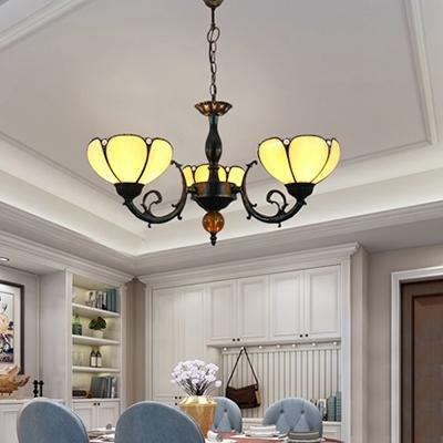 Vintage Dome Shade Chandelier Light Glass 3 Lights Beige Pendant Lamp for Dining Room Restaurant