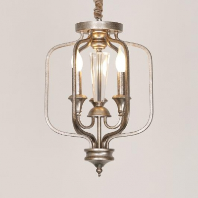 Vintage Style Candle Chandelier Metal 3 Lights Silver Hanging Light for Balcony Villa
