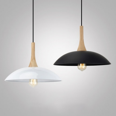 Vintage Style Dome Suspension Light 1 Light Wood Hanging Lamp in Black/White for Factory Workshop