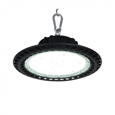 200W Slim UFO Bay Lighting Aluminum Super Bright LED Pendant Light in Black for Supermarket