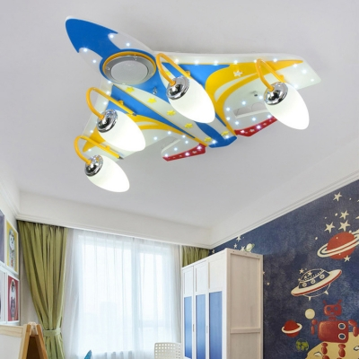 4 Lights Airplane Semi Ceiling Light Kids Wood Bluetooth Ceiling Lamp in Blue with White Lighting