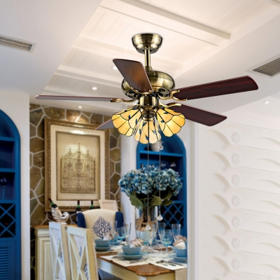 42 Inch Vintage Ceiling Fan with Wood Blade 3 Lights Glass Semi Flush Ceiling Light for Dining Room