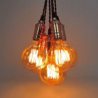 Orb Shape Cloth Shop Pendant Light Glass 6 Lights Retro Loft Ceiling Pendant in Brown