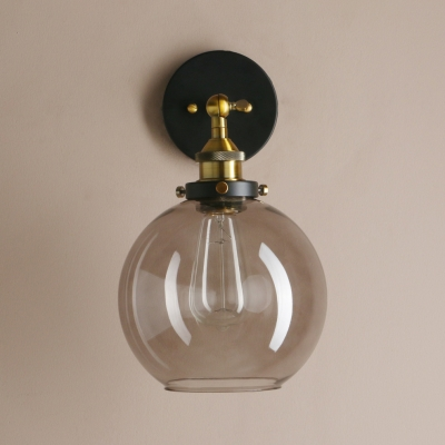 Bedroom Globe Shade Wall Light Smoke Gray Open Bulb 1 Light Antique Style Sconce Light