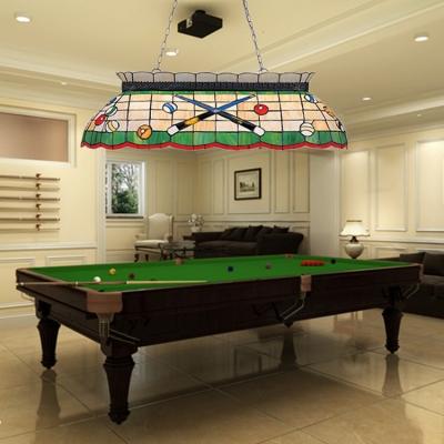Tiffany Style Billiard Island Light Stained Glass Island Chandelier In Beige For Billiard Table Beautifulhalo Com