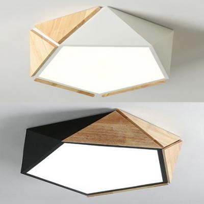 Warm/White Lighting LED Flush Mount Light Macaron Loft Wood Ceiling Lamp in Black/White for Adult Bedroom