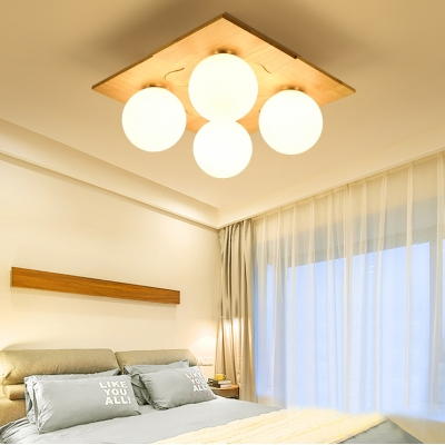 Creative Puzzle LED Flush Mount Light Opal Glass 4 Heads White Ceiling Lamp for Kid Bedroom
