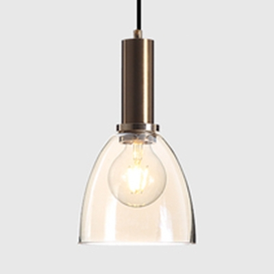 Living Room Pendant Light Amber/Clear Glass One Light Modern Style Hanging Light with 3 Design for Choice