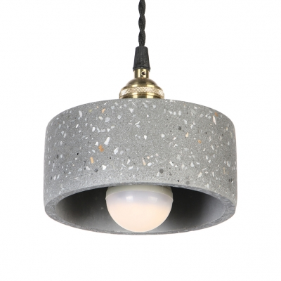 Industrial Drum Shape Pendant Light 1 Light Cement Hanging Light Black/Blue/White Hanging Light for Bedroom
