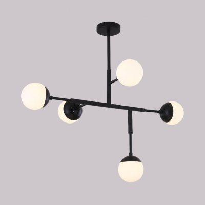 Five Lights Linear Chandelier Contemporary Metal Hanging Light in Black/Gold for Living Room