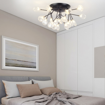 21 Lights Twig Semi Ceiling Mount Light Contemporary Metal LED Flush Light in Black for Living Room