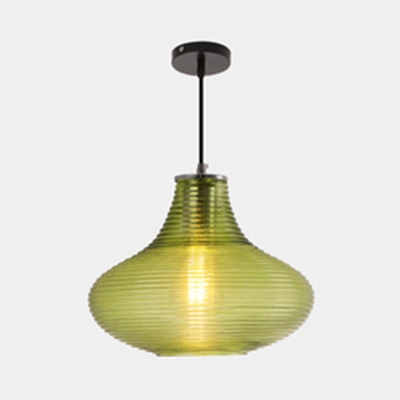 Ridged Cloth Shop Pendant Lamp Amber/Clear/Green/Smoke Glass 1 Bulb Modern Style Ceiling Light