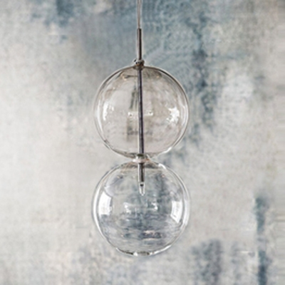 Clear/Gold Glass Gourd Pendant Light 1 Bulb Simple Stylish Ceiling Pendant for Living Room