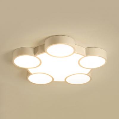 Acrylic Round LED Ceiling Light Child Bedroom 3/4/5 Heads Modern Flushmount Light in Warm/White